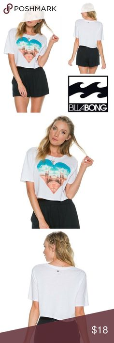 🆕Billabong Desert Dayz Crop Top Womens White Billabong Desert Dayz crop tee. Crew neckline and short sleeves. Heart shaped desert screenprint at center front. Boxy fit. Length from shoulder to hem: 17 inches. 55% Cotton/ 45% Polyester. Machine wash. Imported. Billabong Tops Crop Tops