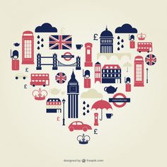 London heart flat icons