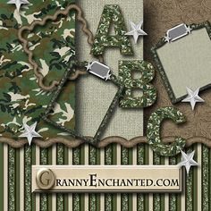 """This Kit comes in 3 parts: Papers Elements Alphabet Free """"Green Camo"""" Digital Scrapbook Kit Free Digital Scrapbooking, Free Scrapbook Paper, Digital Paper Free, Scrapbook Supplies, Scrapbook Cards, Digital Papers, Army Birthday Parties, 7th Birthday, Memorial Day"""
