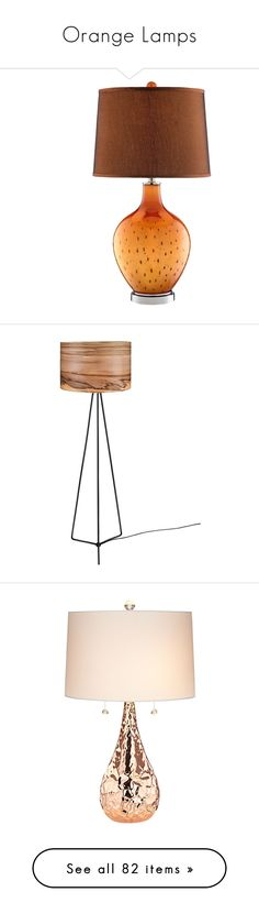 """""""Orange Lamps"""" by lailoooo ❤ liked on Polyvore featuring home, lighting, table lamps, black, onyx lamp, black light, black shade, colored lights, incandescent light and floor lamps"""