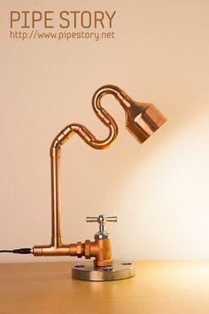 Pipe Lighting, Copper Lighting, Cool Lighting, Lampe Steampunk, Luminaria Diy, Desk Lamp, Table Lamp, Pipe Table, Edison Lampe