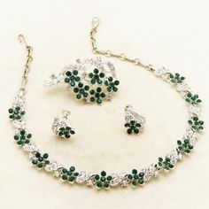 """Signed LISNER Rhinestones Necklace, Pin, Earring Set in Original Box.  See me at the """"Vintage Jewelry Stars"""" shop at http://www.rubylane.com/shop/vintagejewelrystars!!"""