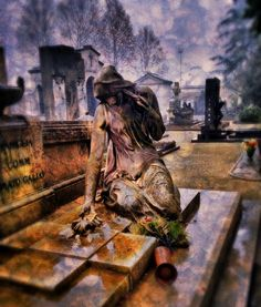 Despair  -- Tags: art, cemetery, cimitero monumentale di Torino, dynamic light, fotografia, funerary monument, grunge, grunger, hdr, HDR pro, image blender, iphone, iphone 4s, iphoneography, photo galleries, photography, photos, phototoaster, pic grunger, pictures, snapseed, statue, torino