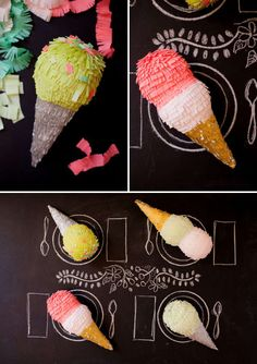 DIY Ice Cream Pinatas - The 'Oh Happy Day' Blog Shows How to Make Easy Dessert Party Decorations