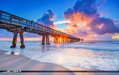 Beautiful purple sunrise over the Pompano Beach Fishing Pier in Broward County…