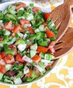 Easy Lebanese Salad - A Cedar Spoon Lunch Recipes, Salad Recipes, Healthy Recipes, Delicious Recipes, Healthy Foods, Keto Recipes, Vegetarian Recipes, Healthy Eating, Lebanese Salad