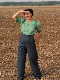 denim swing trousers...and blouse from Heyday!!! This is ADORABLE!