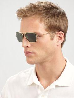 Ray-ban Caravan Rectangular Sunglasses in Gold for Men