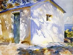 """""""Corfu: Lights and Shadows, 1909 by John Singer Sargent. From the collection of John Singer Sargent watercolors at the Brooklyn Museum. Watercolor Landscape, Watercolor Paintings, Watercolor Paper, Painting Art, Oil Paintings, Shadow Painting, Watercolor Artists, Indian Paintings, Painting Lessons"""