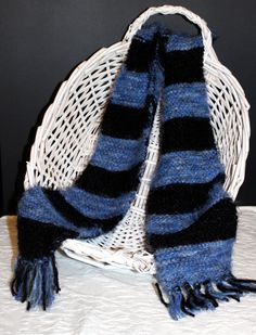 Angel Hair Blue and Black Striped Scarf by StitchinGalTX on Etsy