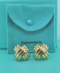 Tiffany Co Signature X Earrings 18k Yellow Gold 24 3grams Designer