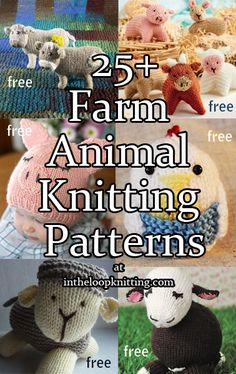Knitting patterns for favorite farm animals including cows, pigs, chickens, and more. Most patterns are free. Knitting For Kids, Loom Knitting, Free Knitting, Knitting Projects, Baby Knitting, Knitting Toys, Knitting Ideas, Animal Knitting Patterns, Stuffed Animal Patterns
