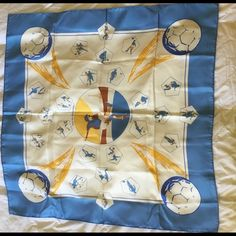 """Hermes Vive les Champions! Silk scarf Beautiful scarf in extremely good condition.  No noticeable marks or stains.  100% silk with hand-rolled edges.  34"""" x 34"""".  Vive les Champions motif throughout.  Pure silk.  Hermes. Hermes Accessories Scarves & Wraps"""