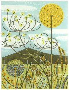 Angie Lewin is a lino print artist, wood engraver, screen printer and painter depicting the UK's natural flora in linocut and other limited edition prints. Art And Illustration, Illustrations, Design Floral, Art Design, Boho Pattern, Linocut Prints, Art Prints, Angie Lewin, Art Carte