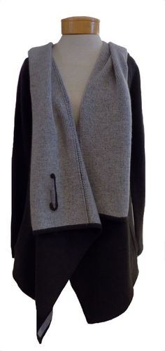 Margaret O'Leary St. Moritz - Fog: The ultimate cashmere sweater coat. The St. Moritz is gorgeous!!! Ultimately sophisticated, this piece elevates any look, any time of year. The softest cashmere in go-to black and pearly grey in a super-stylish silhouette that you can wear over anything from sexy jeans and boots to a sassy dress or skirt. Wear it open or closed with the classic, over-sized safety pin. So pretty! http://www.melange4women.com/maostmofog.html