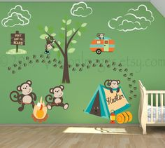 Nursery wall decal camping wall decal monkey wall by ValdonImages