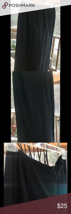 """SHARON YOUNG STRAIGHT BLACK SKIRT💋 SZ 14 💋EUC💋 Gorgeous 💯 % polyester black straight skirt with back kick pleat. Zipper back with two sections of 3"""" elastic on the back waistband for comfortable give. Washable. 38"""" long.....great with a pair of boots! Perfect condition! Sharon Young Skirts"""