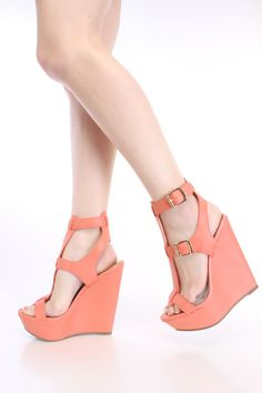 Peach Strappy Platform Wedges Faux Leather