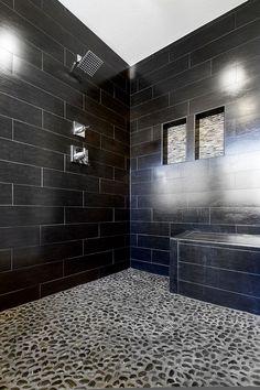 Contemporary Master Bathroom with Solistone - anatolia 12 x 12 honed black sea tile & stone 5002su, Recessed shower niche