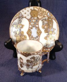 SOLD! NIPPON-3-Legged-Demitasse-Cup-Saucer-Children-Hand-Painted-With-Moriage