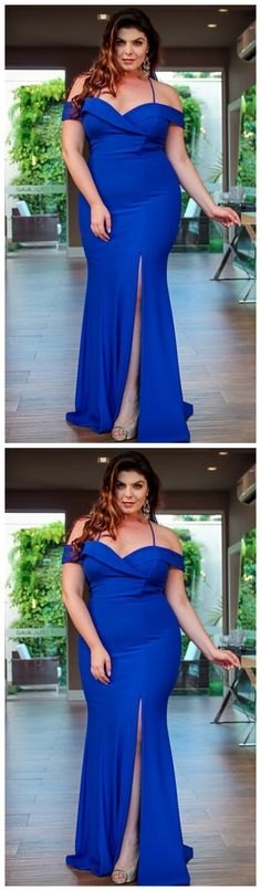 Royal Blue Plus Size Evening Dress by olesaweddingdresses, $132.36 USD Classy Prom Dresses, Royal Blue Prom Dresses, Sexy Dresses, Fashion Dresses, Formal Dresses, Party Dresses, Evening Dresses Plus Size, Wedding Veil, Prom Party