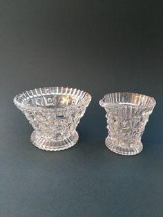 Vintage Glass Sugar Bowl and Creamer Wedding by PylonVintage