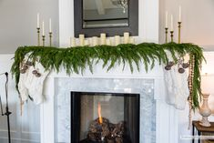 Terrific Screen painted Fireplace Mantels Popular The fireplace has been the focal point of rooms considering that the century, when the hearth m Christmas Greenery, Christmas Fireplace, Christmas Lights, Christmas Decorations, Christmas Ideas, Xmas, Painted Fireplace Mantels, Paint Fireplace, Mantle
