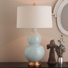 Spa Hues Ceramic Table Lamp robins_egg_blue_oatmeal_linen_shade
