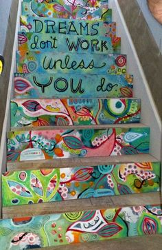 Top 15 collaborative projects for the new school year - Decorate the steps in your school with motivational or inspiration messages, some schools even add times tables to each step! School Murals, Art School, School Hallways, School Entrance, The New School, New School Year, Middle School, Art Du Monde, Painted Stairs