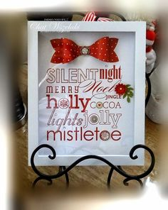 Cute idea even for a small dollar store shadow box Christmas Shadow Boxes, 3d Christmas, Christmas Frames, Stampin Up Christmas, Christmas Signs, Christmas Projects, All Things Christmas, Christmas Cards, Christmas Decorations