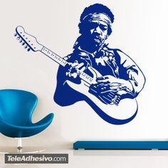 Jimi Hendrix fue un músico y cantautor estadounidense. que es considerado el mejor guitarrista eléctrico de la historia y uno de los músicos más importantes del siglo XX. Si quieres decorar de forma musical tu pared, este vinilo decorativo es perfecto. Un detallado diseño de Jimi tocando su guitarra.