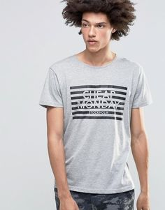 Cheap Monday Standard T-Shirt Stripe Logo Gray