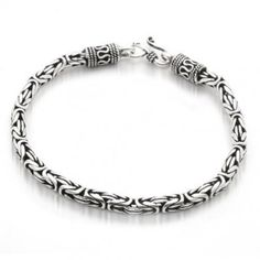 Bling Jewelry Men Sterling Silver Bali Cable Antique Chain Bracelet