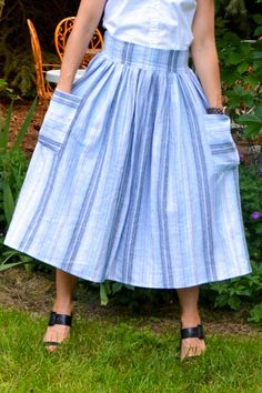 Midi Skirt with Patchwork Pockets Tutorial - Finished