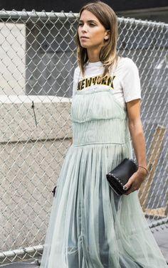 Romantic pleats made friends with logo tees on Carola Bernard