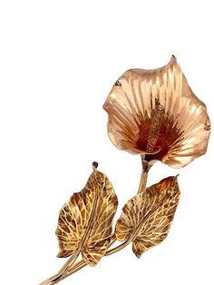 Ross-Simons - C. 1950 Vintage 14kt Two-Tone Gold Floral Pin - #812087