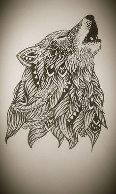 Zentangle wolf:
