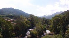 Vista del Sella desde lo alto del Puente Romano  al fondo el Picu Pierzu
