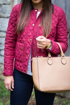 barbour jacket, fall fashion, fall style, born shoes, born booties, comfortable shoes, fall booties, desert boot, tory burch robinson pebbled multi tote, preppy outfit, preppy couple // grace wainwright from a southern drawl