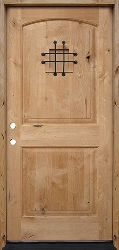 Old world style rustic wood entry doors. These unique exterior doors are made from distressed mahogany or knotty alder woods, and have classic accessories such as grilles, clavos and a working speakeasy. Wood Entry Doors, Wood Exterior Door, Rustic Doors, Barn Doors, Knotty Alder Doors, Cheap Interior Doors, Interior Design Software, Door Makeover, Glass Design