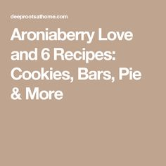 Aroniaberry Love and 6 Recipes: Cookies, Bars, Pie & More