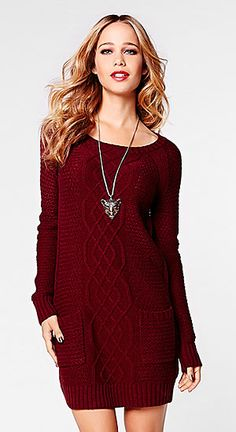This fall, prepare to turn heads in this gorgeous sweater dress! Cozy up while doing holiday shopping, or glam up your accessories and wear it to dinner :) Cable Knit Sweater Dress, Red Sweater Dress, Only Fashion, I Love Fashion, Womens Fashion, Fashion Check, Fall Winter Outfits, Autumn Winter Fashion, Winter Clothes