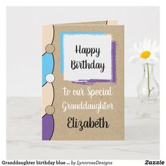 Granddaughter birthday blue white rustic card Personalize this Happy Birthday Card for a special Granddaughter Designed in purple, blue and black. Add a name and your message. Happy Birthday With Love *Kraft graphic rustic effect background. *Real Kraft card is not used #ad Happy Birthday Love, Happy Birthday Cards, Birthday Greeting Cards, Custom Greeting Cards, Birthday Greetings, Zazzle Invitations, Photo Cards, Thoughtful Gifts, Blue And White