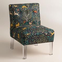 Randen Upholstered Chair in Multicolor Prints - Acrylic Legs | World Market