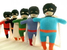 Hand-knit superheroes - for alex and andrew glenda?