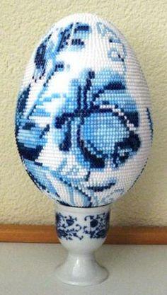Beaded Egg Easter Blue Flower PATTERN Gzhel style