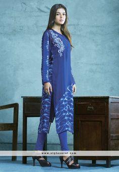 Blue Color FauxGeorgette Fabric Party Wear Kurti-35704