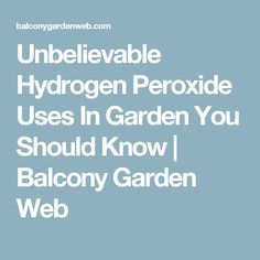 Unbelievable Hydrogen Peroxide Uses In Garden You Should Know | Balcony Garden Web