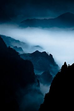 Yellow Mountain by night, China