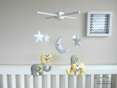 Dreamtime Baby Elephants - Butter Yellow and Grey Felt Baby Mobile - with Chevron and Buttons